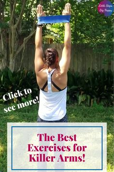 arm band workouts Check out these beginner exercises perfect to tone and tighten your upper body. All you need is a mini loop band or a long resistance band to do this workout. Kettlebell Workouts For Women, Arm Workouts At Home, Body Workout At Home, Fun Workouts, Upper Body Weight Workout, Killer Arm Workouts, Resistance Band Arms, Resistance Workout, Resistance Band Exercises
