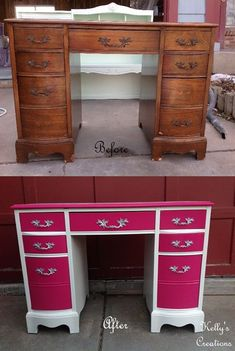 Desk painted white with hot pink drawers and silver hardware before and after pictures.  Painted by Kelly's Creations Furniture.