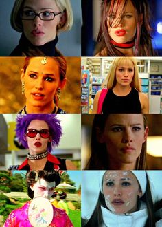 A few of Jennifer Garner's many faces on Alias as CIA agent Sydney Bristow.