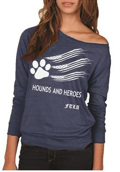 FTLA Apparel Hounds and Heroes Eco Jersey Off The Shoulder Pullover - Eco True Navy