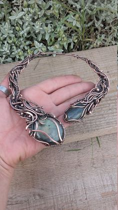 Fairy copper wire wrapped necklace with natural Labradorite stones,Wire…                                                                                                                                                                                 More