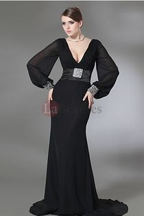 2012 Prom Dresses Plus Size Prom Dresses Black Trumpet/Mermaid V Neck Chiffon-idk why but I like this...
