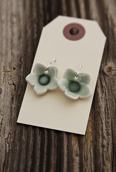 Earrings  Green Porcelain Flowers ON SALE by tashamckelvey on Etsy, $22.00