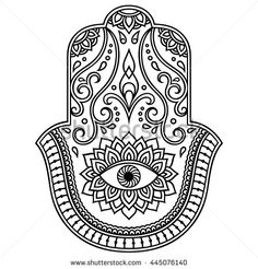 "Similar Images, Stock Photos & Vectors of Hamsa hand drawn symbol with lotus. Decorative pattern in oriental style for interior decoration and henna drawings. The ancient sign of ""Hand of Fatima"". Design Hamsa, Hand Der Fatima, Phulkari Embroidery, Henna Drawings, Maori Tattoo Designs, Marquesan Tattoos, Oriental Fashion, Oriental Style, Different Tattoos"