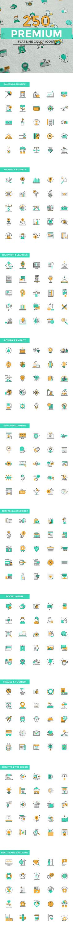 Set of modern Color Line Design icon by Creative Graphics on @creativemarket