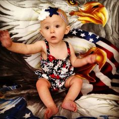 Red, White and Blue Headband with Star for Independence Day by Kenzie Kids Boutique- Baby Model