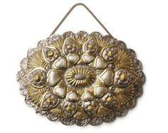 Gold and Silver Turkish Wedding Mirror - Heart Motif - Vintage Turkish Silver 900 Coin Mirror - Hanging Mirror