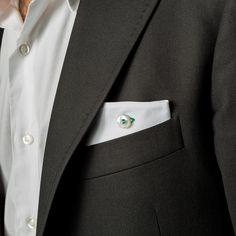 pochette da giacca Eyelet Milano, Tuesday, piquet bianco e asola di cotone verde, #madeinitaly #eyeletmilano