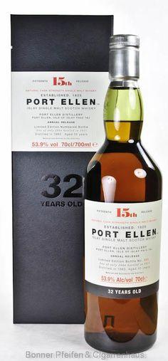 Port Ellen Whisky 32 y.o. Region : Islay nur eine Flasche 53,9 % alc./vol. 0,7l Farbstoff und kühlgefiltert keine Angaben Fassart : Keine Angaben Distilled : 1983 Bottled : 2015 Bottle Nr.: 990 15. Special Release 2015 Limitiert auf 2964 Flaschen Abgefüllt in natürlicher Fassstärke