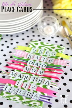 Tile and Ribbon Place Card Ideas for Tablesettings by In My Own Style