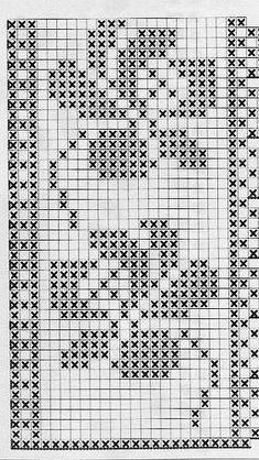 filet crochet lace edging, roses motif ~~ dantele flori - S