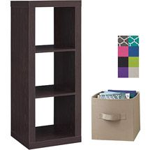 Walmart: Better Homes and Gardens 3-Cube Organizer, White, with 2 Collapsible Fabric Storage Cubes, Mix and Match Colors: Going to put this at the foot of the bed horizontally with gray storage cubes to match our new bedding.