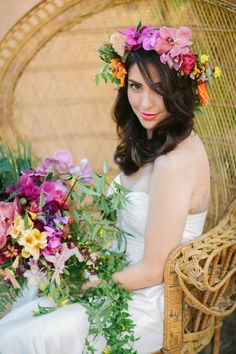 Colorful and tropical wedding inspiration shoot with tropical floral design and a mermaid wedding dress. Great ideas for a tropical wedding. Hawaii Wedding, Our Wedding, Wedding Hair, Wedding Ideas, Summer Wedding, Hawaiian Flower Crown, Flower Crowns, Hawaiian Wedding Themes, Floral Wedding