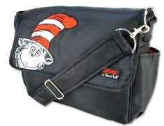 Hit the road equipped and in style with this Dr. Seuss Cat in the Hat Messenger Bag by Trend Lab. Nylon bag features a black body with red lining. The embroidery in the lower left corner of the front flap features a fun peek-a-boo Cat in the Hat.