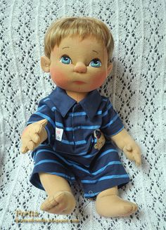 """SALE! Fretta's Life size 51 cm / 20"""" Jointed Baby Boy Doll. Strawberry Blonde Hair, Blue Eyes. All Natural Child Safe Textile Baby Doll."""