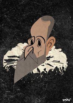 Caricatura de Cervantes, por DGV. 25 de 100. #100carasCervantes