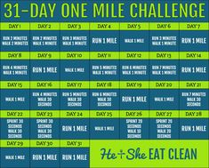 Fitness/Running Challenge: One Mile Challenge 12 Week Workout, Month Workout Challenge, Running Challenge, Workout Schedule, 30 Day Challenge, Workout Calendar, Workout Tips, Workout Binder, College Workout