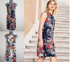 0a43038c94 Ladies Ex NEXT Shift Dress Linen Floral Print Summer Smock Beach Vintage  Size