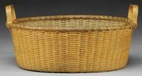 SHAKER QUATREFOIL TWILL BASKET WITH HANDLES. Late 19th early 20th Century                    ****