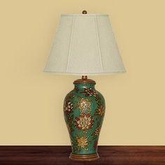 JB Hirsch J15454 Green Floral Porcelain Table Lamp