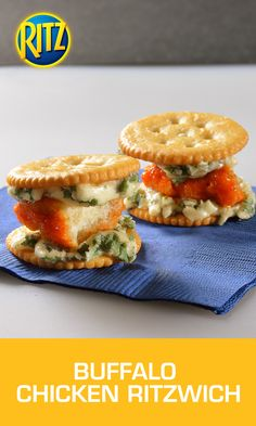 All you need to make the most of the NCAA® March Madness® games are boneless Buffalo chicken bites, Gorgonzola cheese and savory RITZ Crackers. Make these Buffalo Chicken RITZwich snacks by microwaving the frozen, boneless Buffalo chicken bites as directed on the package, cutting each bite into 3 pieces. Place RITZ Crackers on a baking sheet and top with Gorgonzola cheese and chicken, and bake until cheese melts. Top each with a second RITZ Cracker and serve warm.