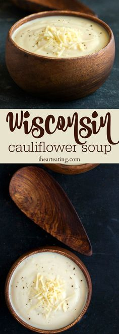 Wisconsin Cauliflower Soup recipe is made with lighter healthier ingredients but keeps all of the cheesy creamy goodness! Wisconsin Cauliflower Soup recipe is made with lighter healthier ingredients but keeps all of the cheesy creamy goodness! Healthy Diet Recipes, Healthy Soup Recipes, Keto Recipes, Vegetarian Recipes, Cooking Recipes, Cheese Recipes, Simple Recipes, Cooking Tips, Good Soup Recipes