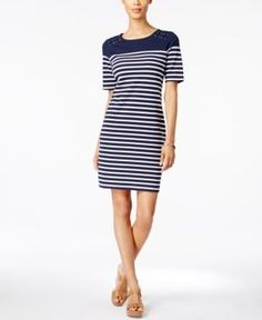 Karen Scott Petite Striped Sheath Dress, Only at Macy's - Blue P/XL