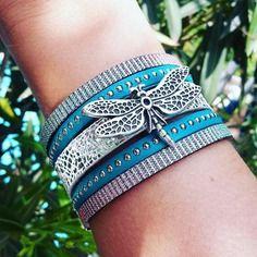 Bracelet manchette cuir libellule