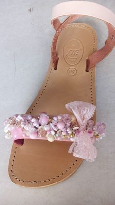 Handmade pink leather sandals with pearls designed by Elli lyraraki