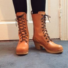 Swedish Hasbeens lace-up boots NEVER WORN Leather with wooden soles. Made in Italy. Color: Nature. This style is no longer manufactured.  Measurements: Heel height 2.25 inches, platform height 1 inch, shaft height 9.25 inches. Never worn; new. Swedish Hasbeens Shoes Lace Up Boots