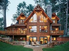 Log Cabin Style Home. Put this cabin on a lake and there's my dream house. Cabin Style Homes, Log Cabin Homes, Barn Homes, Wood Homes, Stone Homes, Cedar Homes, Cottage Homes, Cottage Style, Chalet Modern
