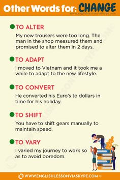 Learn English Phrases Related to Change. Other words you can use instead of change. Useful English expressions about changes. English Grammar Tenses, Teaching English Grammar, English Idioms, English Language Learning, English Vocabulary Words, English Phrases, Learn English Words, English Lessons, French Language