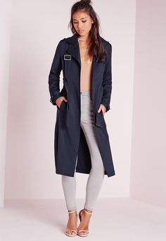 Missguided - Military Trench Coat Navy