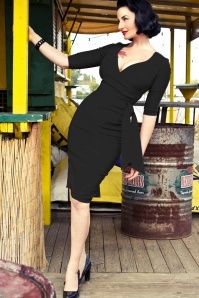 50s Hourglass Pencil Dress with 3/4 Sleeves in Black