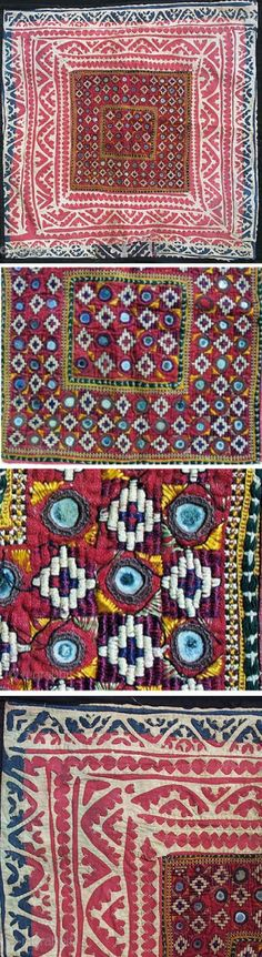 Old Banjara or Thar desert Indian textile square, perhaps used as a pillow cover or a square coverlet.