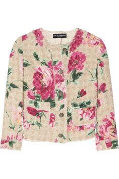 floral jacket / Peony-print woven cotton-blend jacket by Dolce & Gabbana