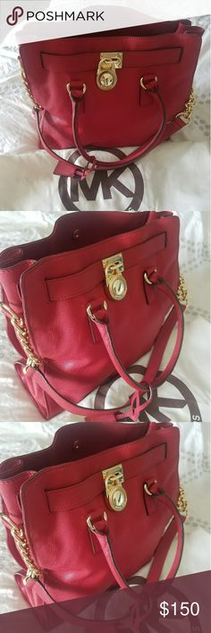 Michael Kors Purse Large Red Hamilton purse in excellent condition used a few times stored in bag. Michael Kors Bags Totes