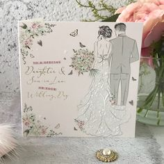 to a Special Daughter and Son in Law on Your Wedding Day - Handfinished Wedding Card with Crystals Son In Law, On Your Wedding Day, Wedding Cards, Envelope, Sons, Daughter, Pastel, Weddings, Contemporary