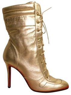 Christian Louboutin Metallic Ankle Boots Silver Eu 36 Us 6 Gold Pumps $430