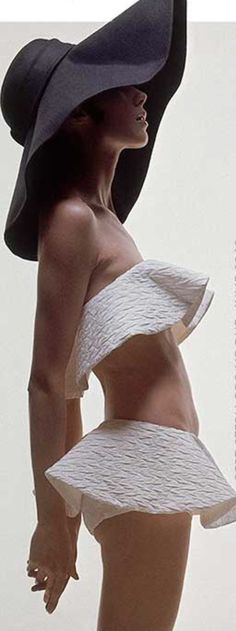 CLASSIC bathing suit look with sun hat | ...Moda Operandi
