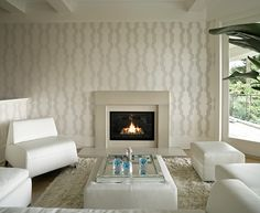 Modern and Unique Fireplace Mantel Kits: Modern Fireplace White Living Room ~ Interior Inspiration Fireplace Mantel Kits, Modern Fireplace Mantles, Simple Fireplace, White Fireplace, Bedroom Fireplace, Living Room With Fireplace, Fireplace Surrounds, Fireplace Design, Living Room Decor