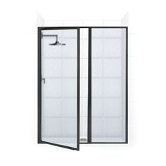 Coastal Shower Doors Legend H x to W Framed Hinged Black Shower Door (Frosted Glass) at Lowe's. The Legend Series framed shower door is easily installed in minutes for a classic look for your bath. The modular construction and telescoping wall jambs Shower Enclosure, Black Shower, Door Installation, Bathroom Style, Black Shower Doors, Modular Design, Door Frame, Shower Tub, Frameless Shower Doors