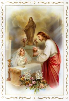 girl receiveing Communion from Jesus