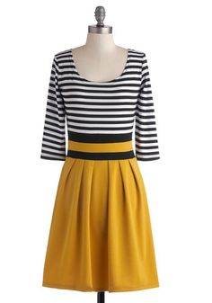 Literary Luncheon Dress - Mid-length, Yellow, Black, White, Stripes, Pleats, Casual, A-line, 3/4 Sleeve, Good, Scoop, Fall