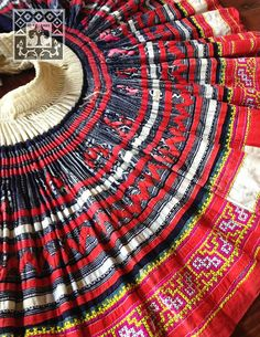 Vintage Hmong fabric handmade cross stitch batik Ethnic Tribal skirt Textile supplies on Etsy, $64.95