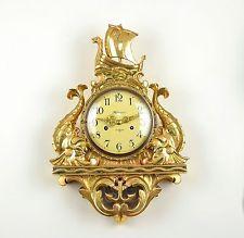 Старинный оригинальный шведский резной и позолоченные настенные часы c1940