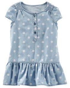2-Piece Dotted Chambray Drop-Waist Dress