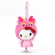 Hello Kitty Plush Keychain: Pink Dragon Hello Kitty Plush, Pink Dragon, Keychains, Charms, Christmas Ornaments, Holiday Decor, Phone, Art, Key Hangers