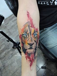 Watercolor lion tattoo by tato castro Rock City Tattoo Shop Bucaramanga Colombia