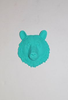 The Winks  1 Turquoise Mini Resin Bear Head by WhiteFauxTaxidermy, $29.99